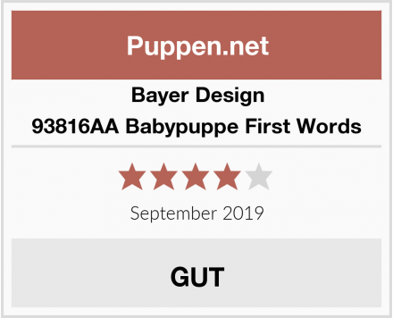 Bayer Design 93816AA Babypuppe First Words Test
