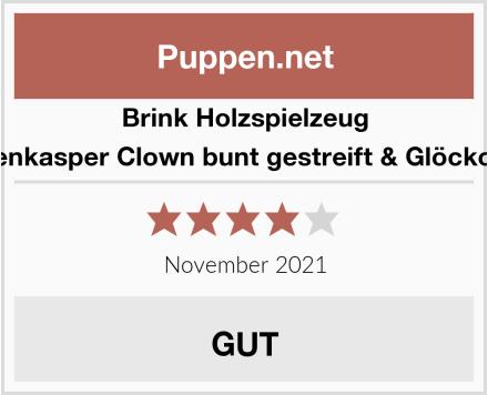 Brink Holzspielzeug Tütenkasper Clown bunt gestreift & Glöckchen Test