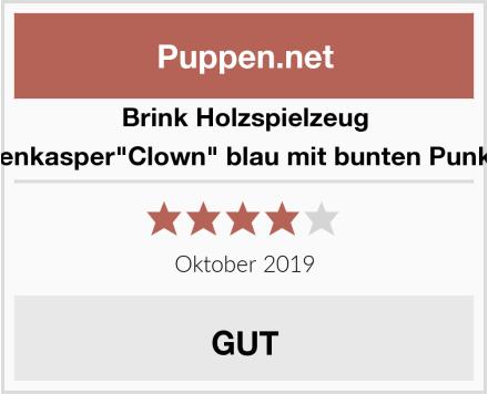 """Brink Holzspielzeug Tütenkasper""""Clown"""" blau mit bunten Punkten Test"""