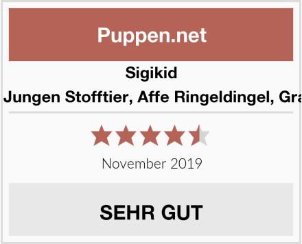 Sigikid Mädchen und Jungen Stofftier, Affe Ringeldingel, Grau/Bunt, 40941 Test