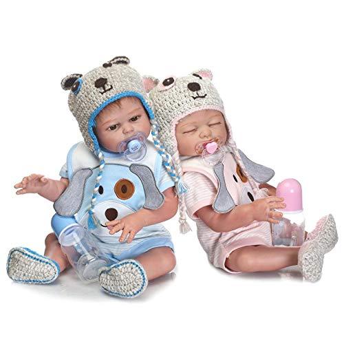 HOOMAI Zwillinge Babys Reborn Puppe 55 cm