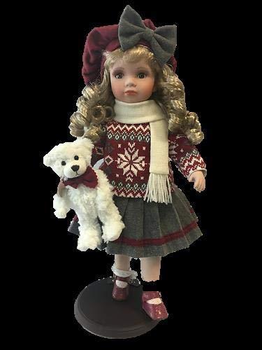 No Name rf collection Porzellan-Puppe, Strickpulli, Hut & Teddy