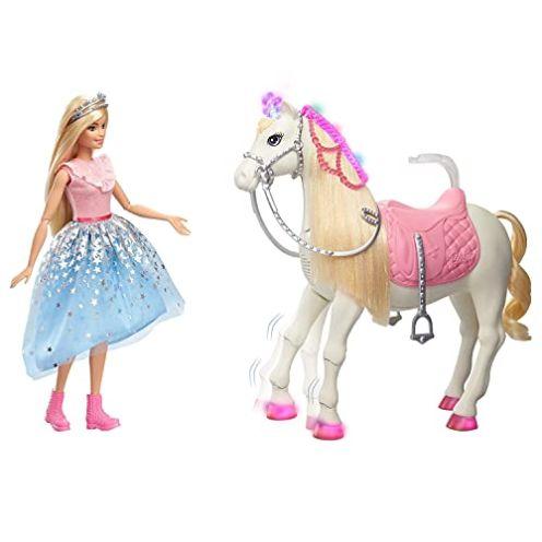 Barbie GML79 GYK64 Prinzessinnen Abenteuer Tanzendes Pferd und Puppe