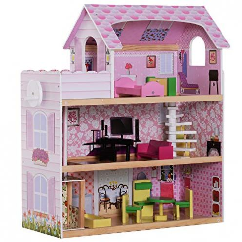 HOMCOM Kinder Puppenhaus