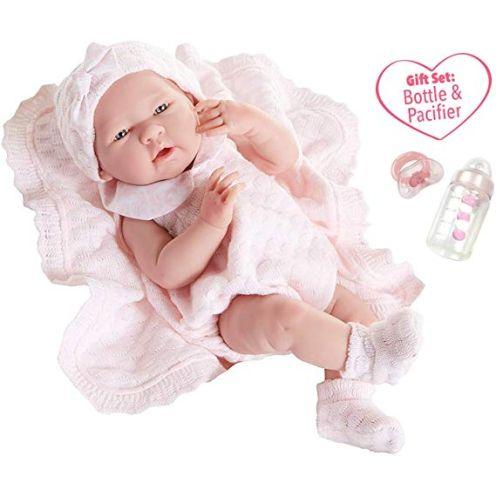 Berenguer Baby-Puppe in rosa Strickstrampler mit Decke