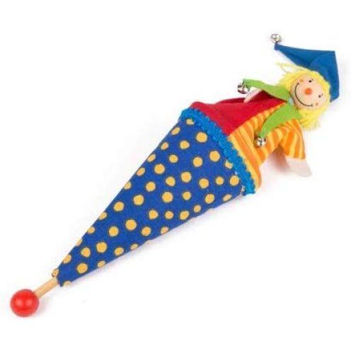 Brink Holzspielzeug Tütenkasper Blau mit gelben Punkten & Glöckchen