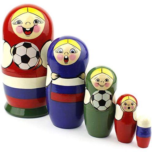 Heka Naturals Matrjoschka Russische Nistpuppen Fußball-Weltmeisterschaft 2018