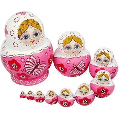 ANKKO 10 Stück Holz Russische Matroschka Puppen